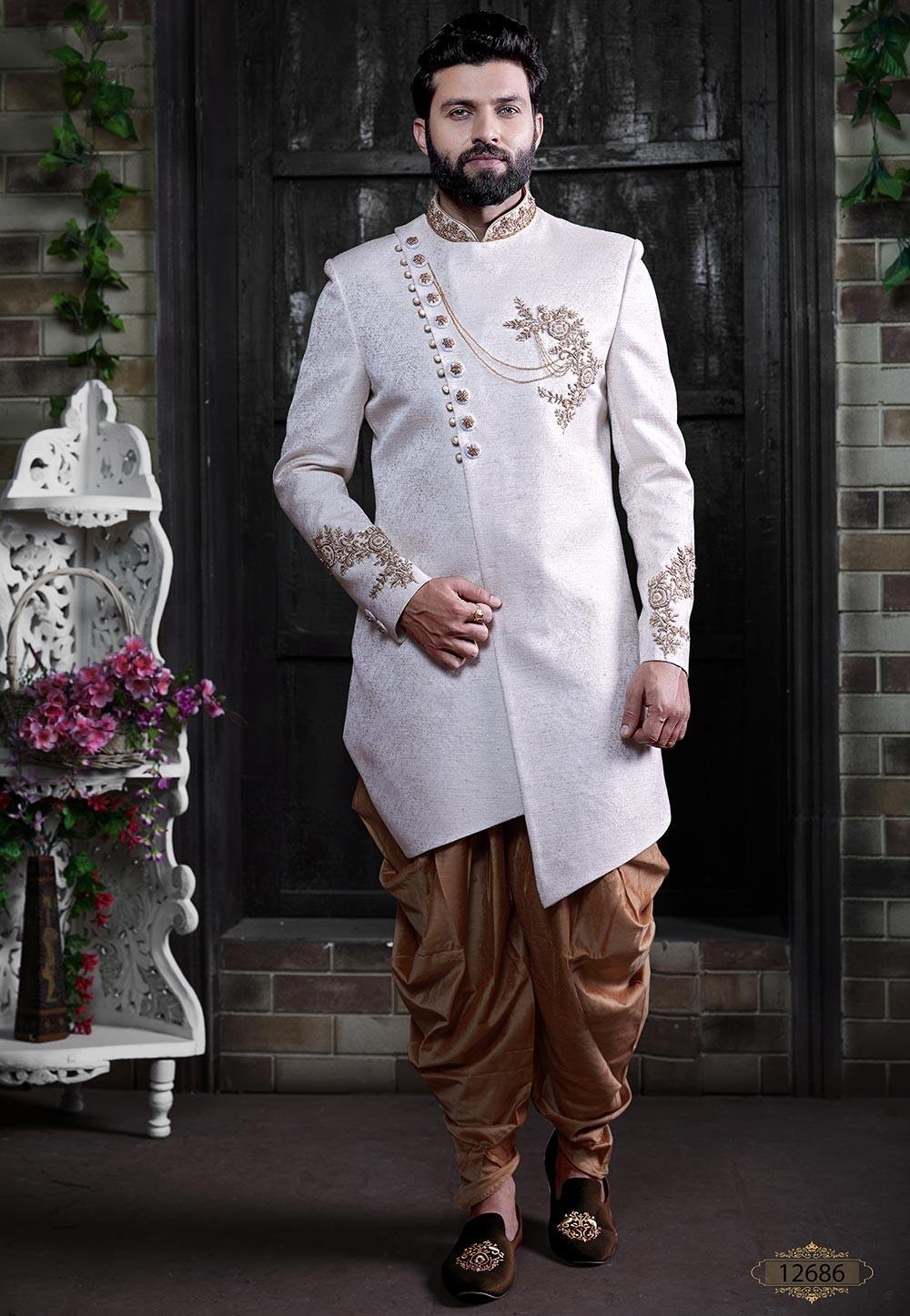 White Colour Indian Wedding Indowestern.