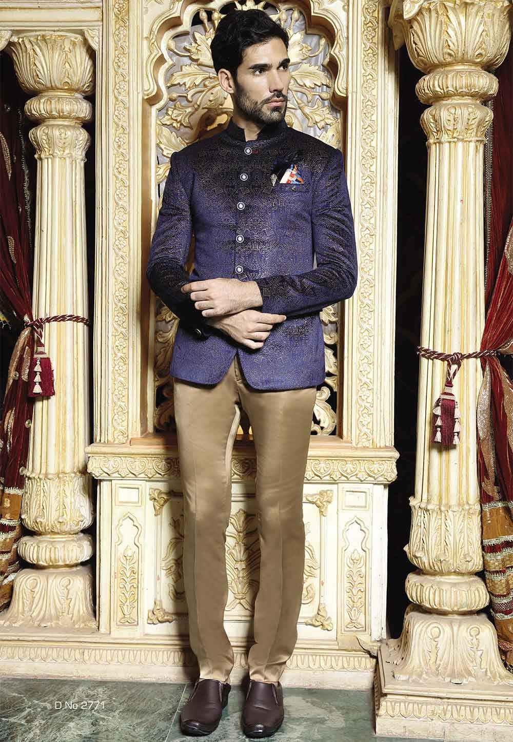 Blue color Traditional men's jodhpuri suits online USA