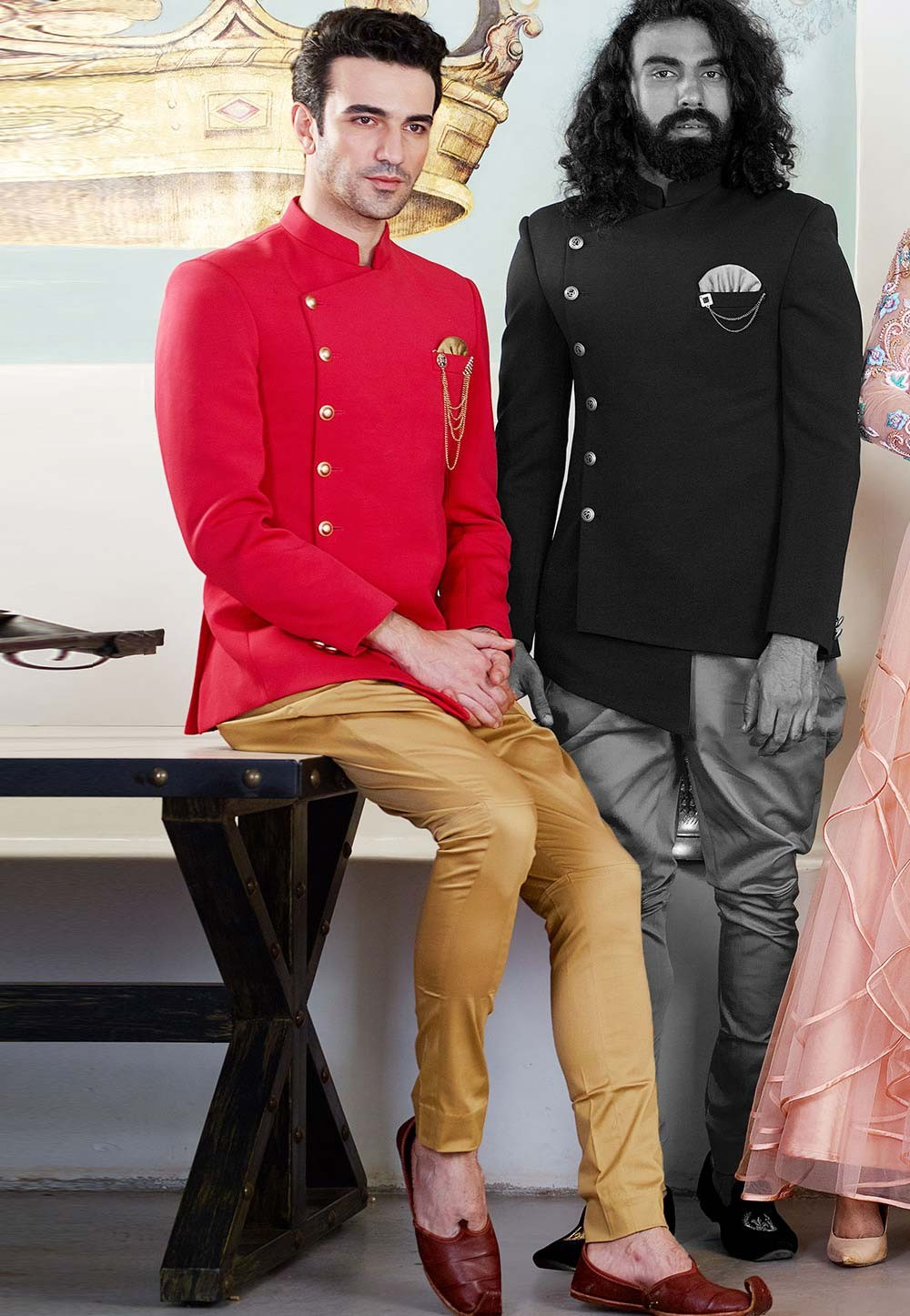 Buy designer suits for men in red colour