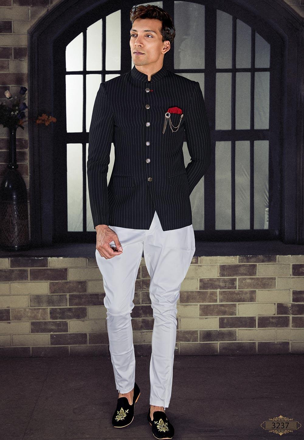 Black Colour Party Wear Jodhpuri Suit.