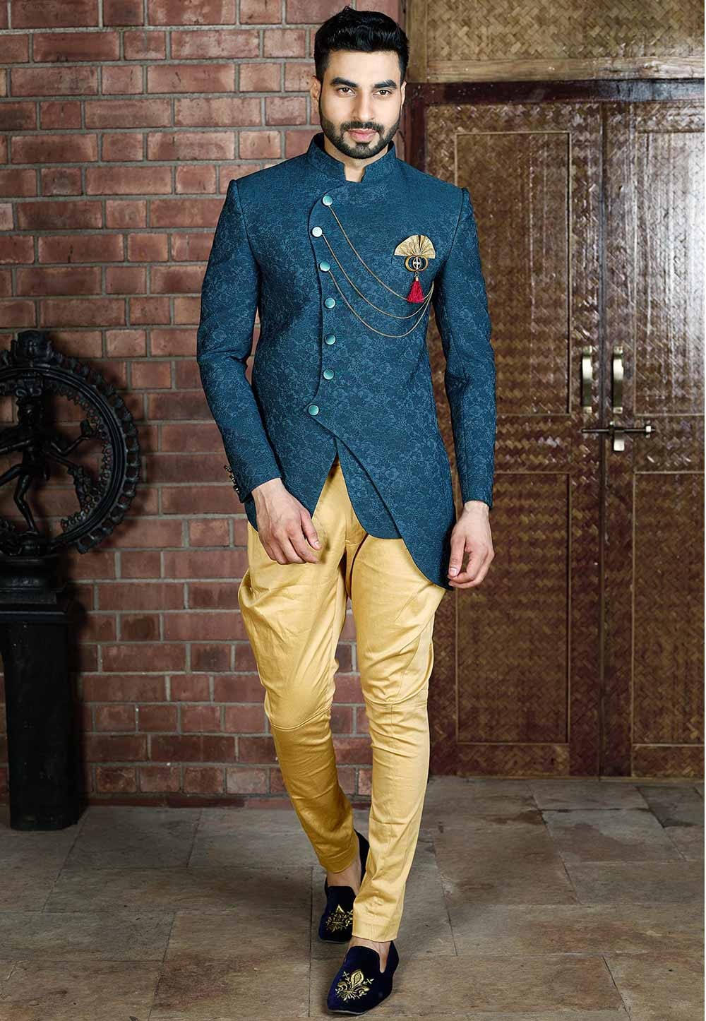 Buy indian style designer suits for men in green colour