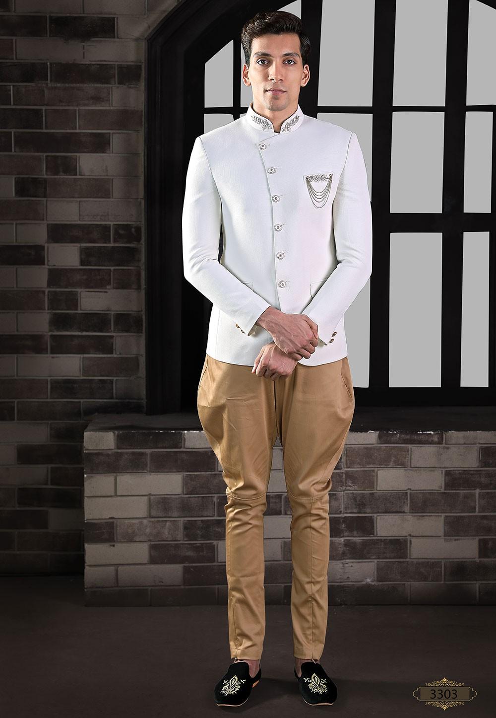 Exclusive Designer Jodhpuri Suit White Colour.