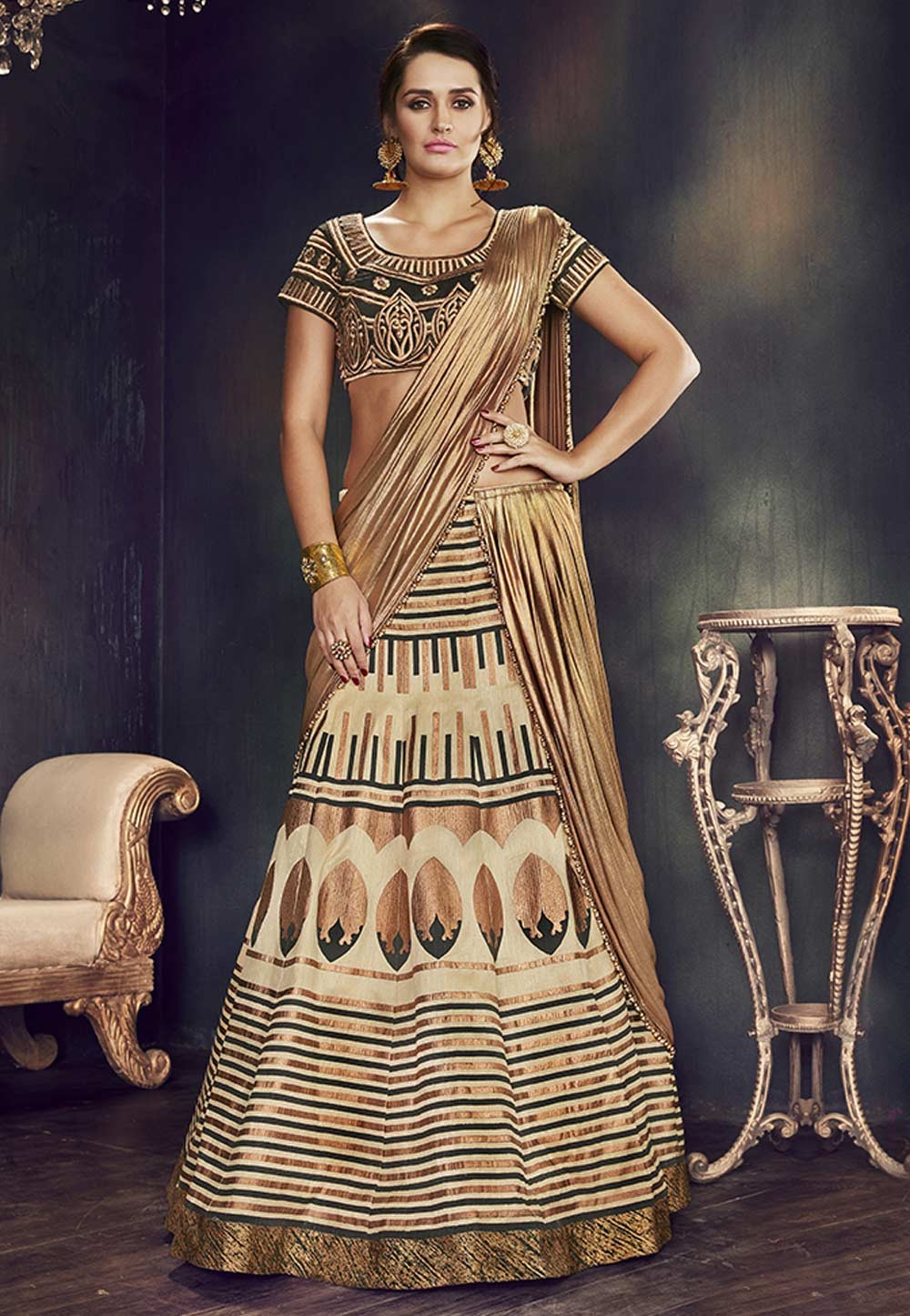 Beautiful Lehenga Choli in Beige Color With Thread,Zari,Embroidery Work