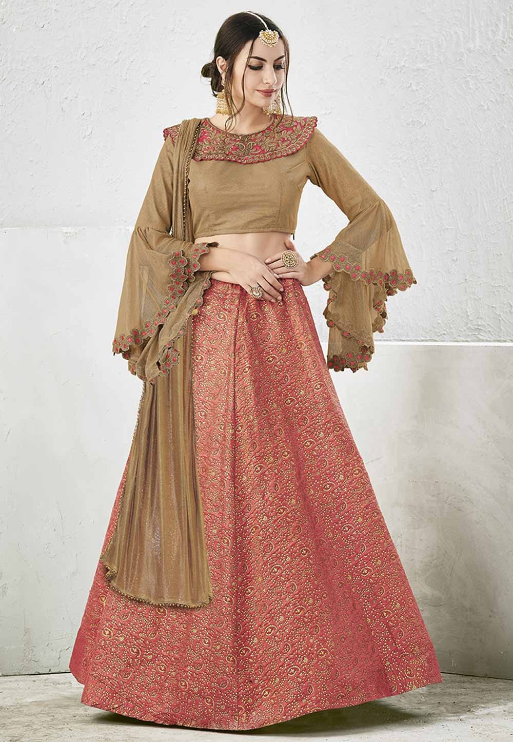 Nice Looking Red,Peach Color Unstitched Lehenga Choli