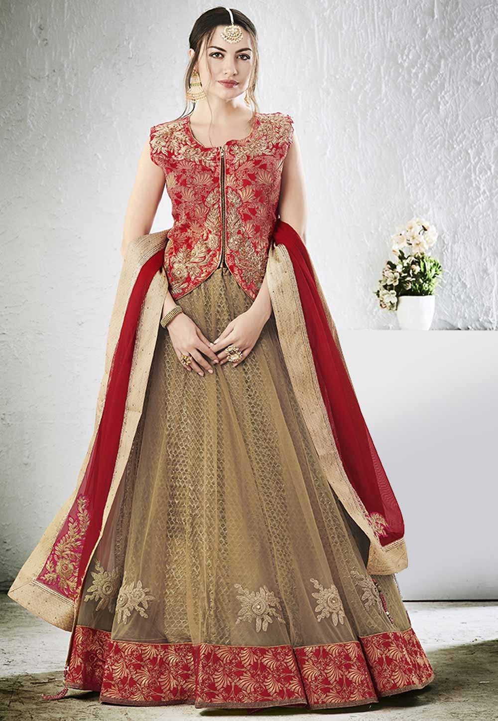 Astounding Lehenga Choli in Beige Color & Embroidery Work