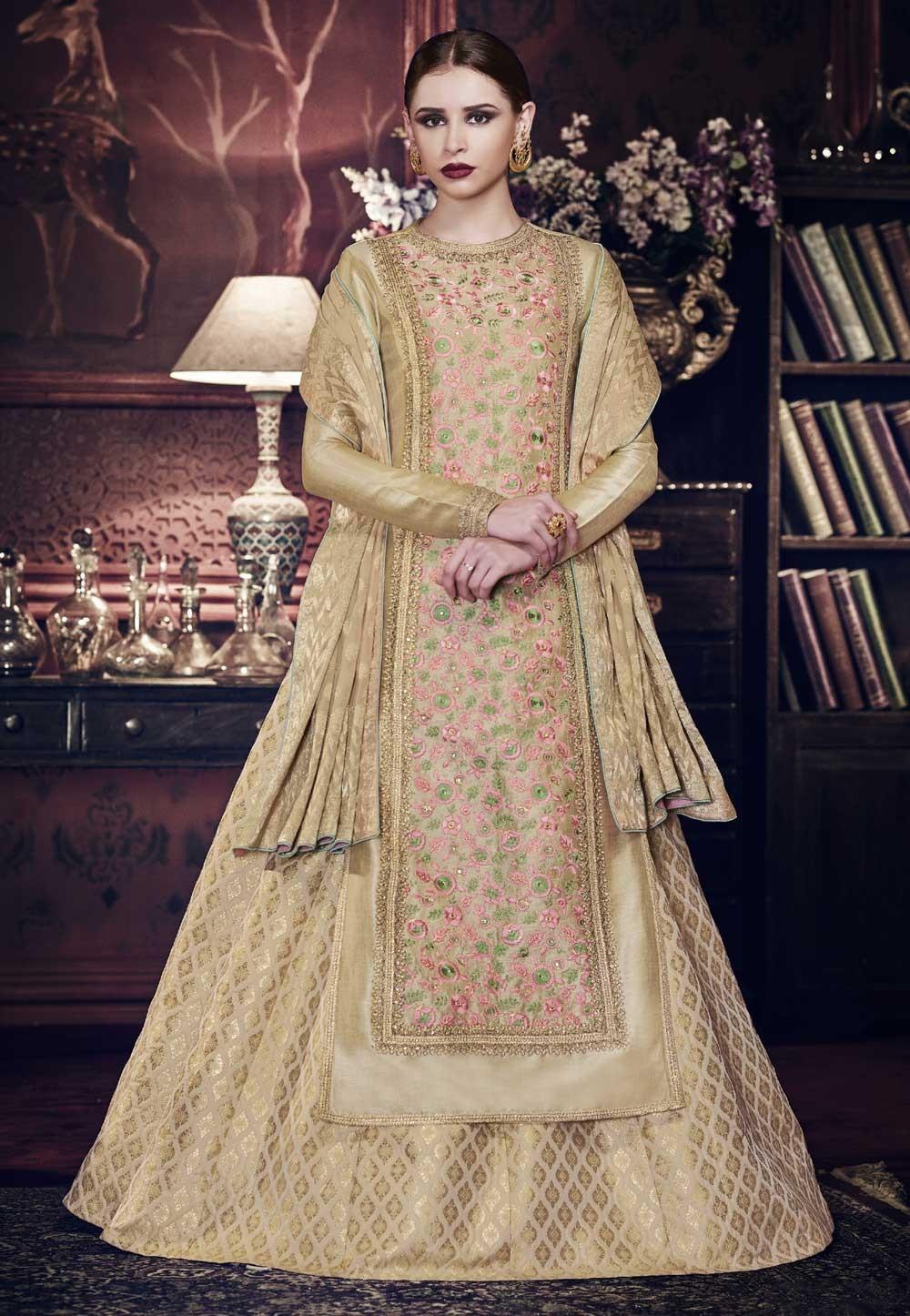 2b8221a364 Beige Color Designer Anarkali Salwar Kameez