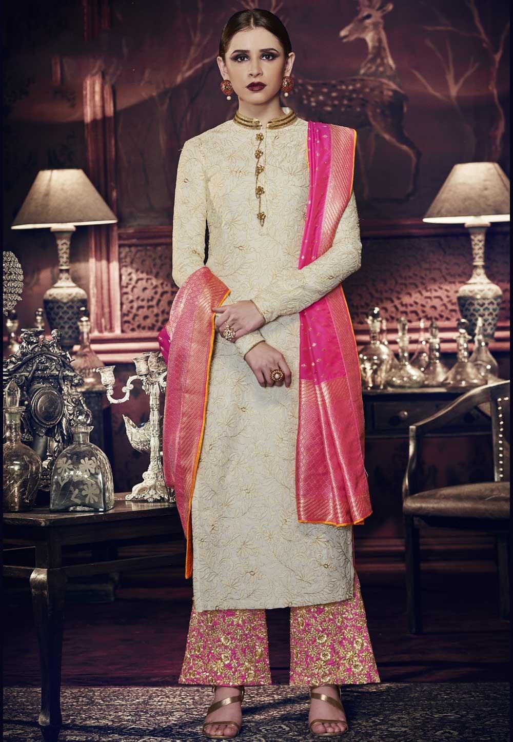 Rich and Elegant Off White Color Art Silk Party Wear Salwar Kameez