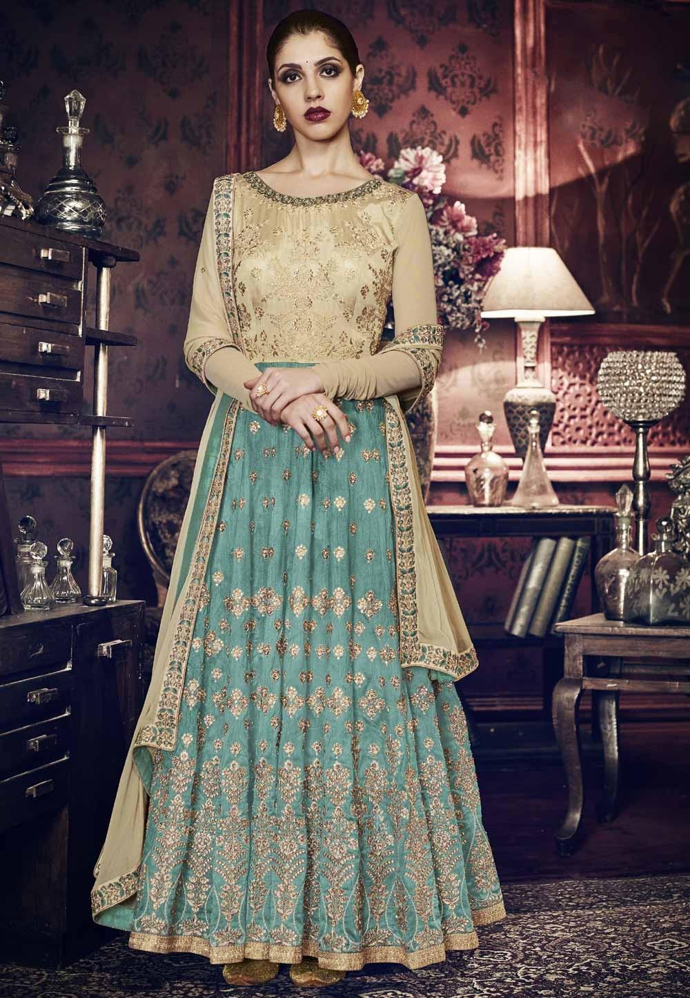 Turquoise,Beige Color Designer Salwar Kameez