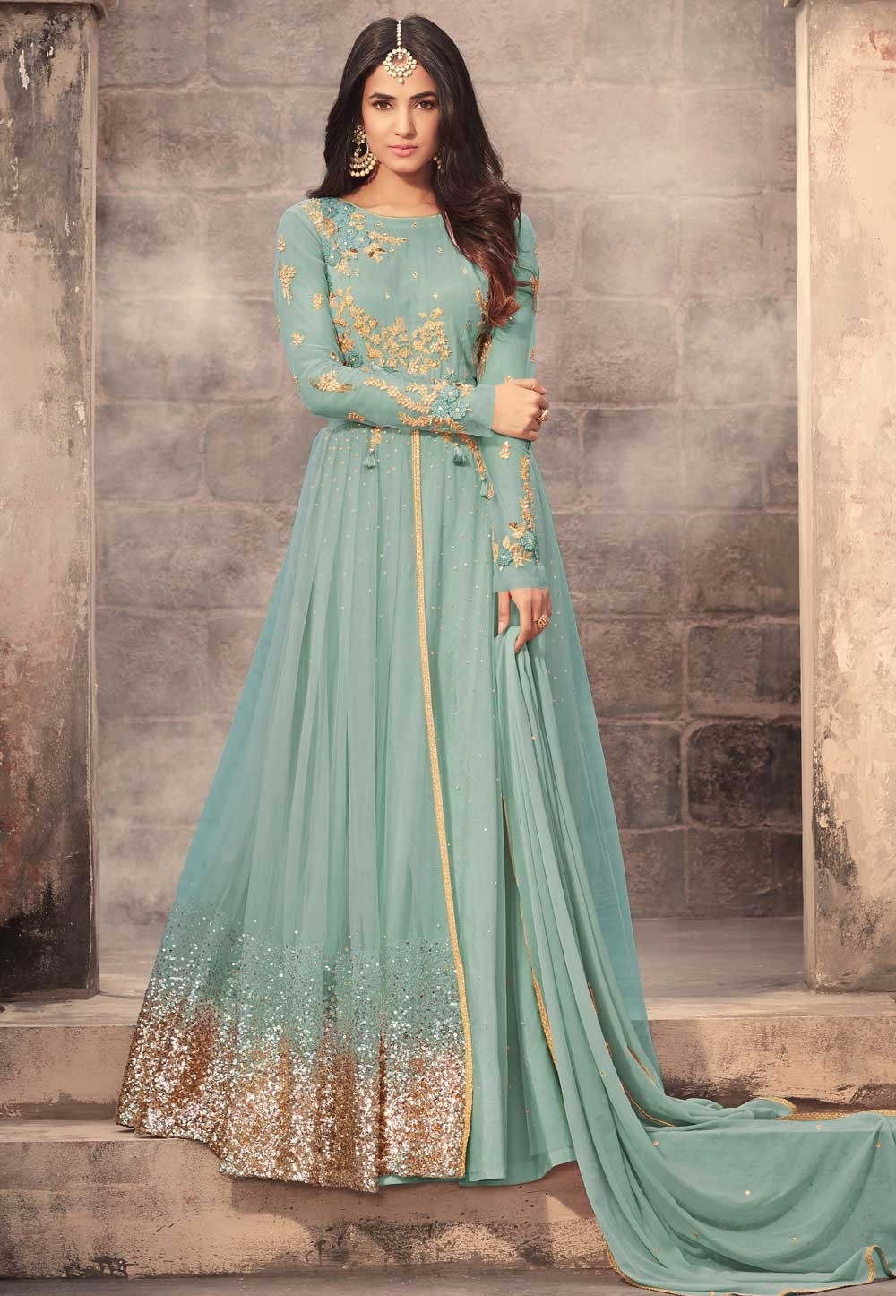 Attractive Looking Turquoise Color Designer Salwar Kameez