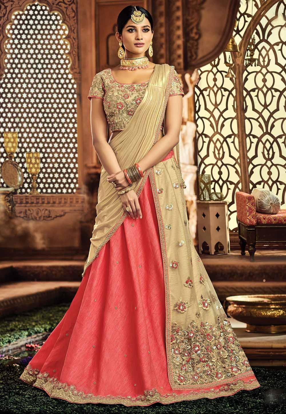 Engagement Lehenga Choli in Pink,Cream Color