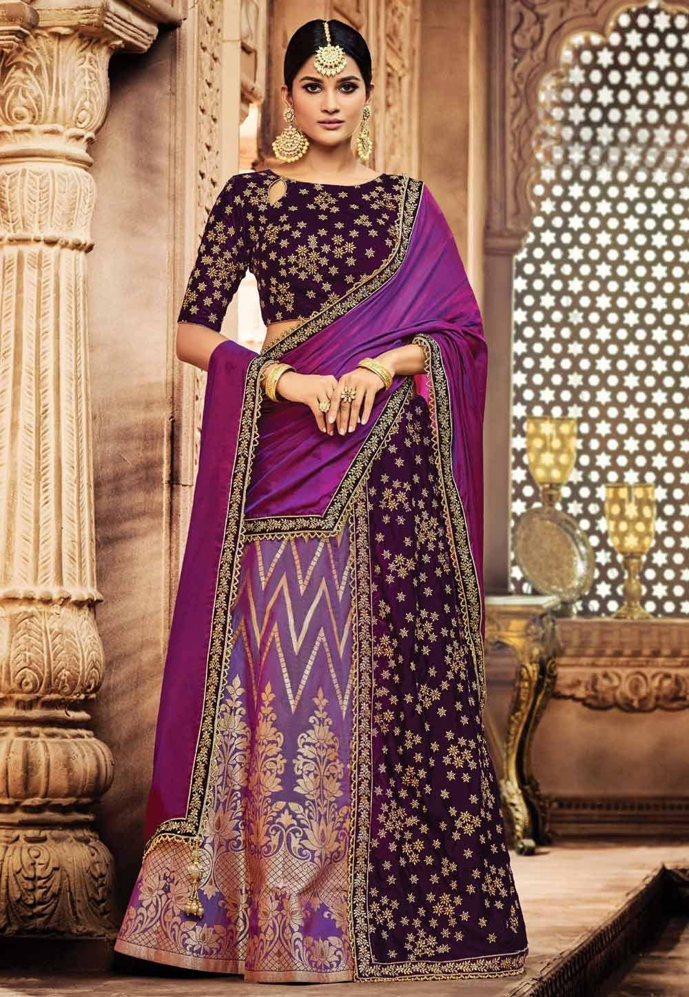 Nice Looking Wine,Purple Color Designer Bridal Lehenga Choli