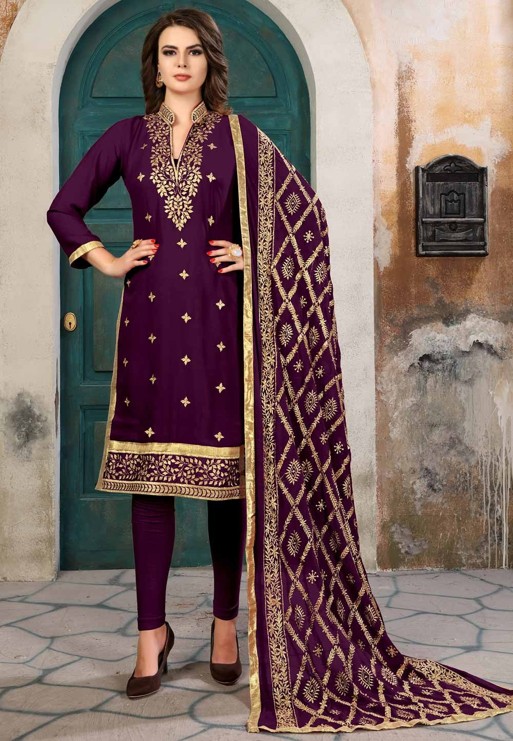 Wine Color Designer Salwar Kameez in Georgette Fabric