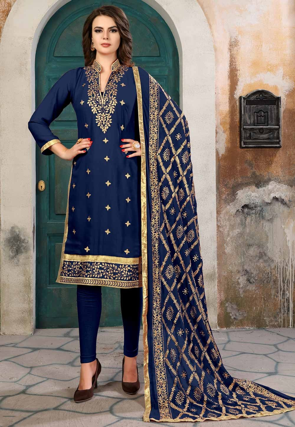 Blue Color Georgette Amazing Salwar Kameez in Straight Cut Style