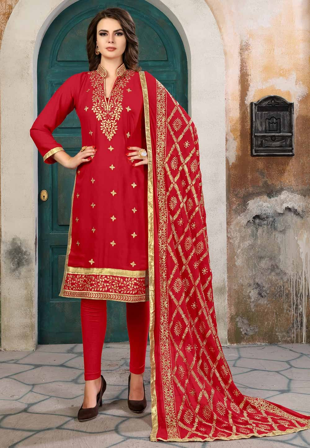 Attractive Red Color Georgette Salwar Kameez