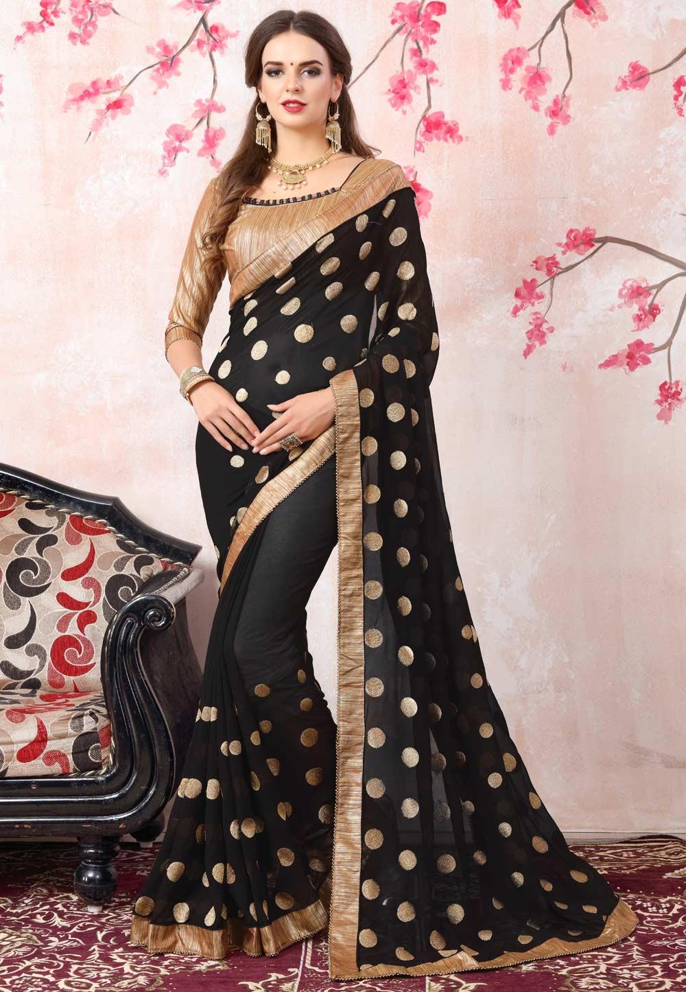 Black Color Georgette Fabric Party Wear Saree