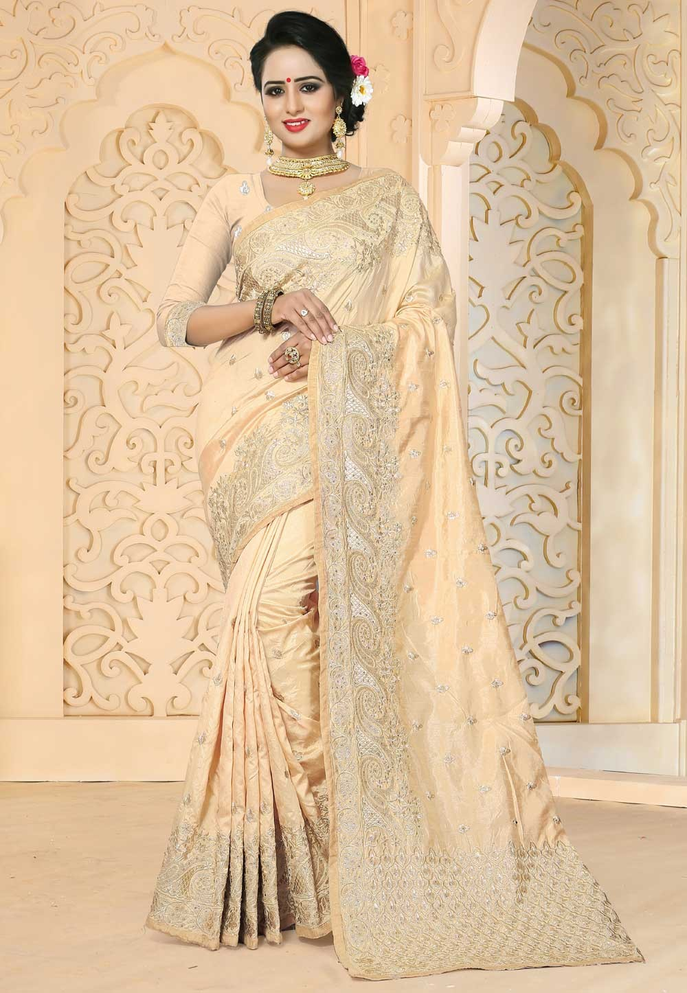 Beige Color Embroidered Saree
