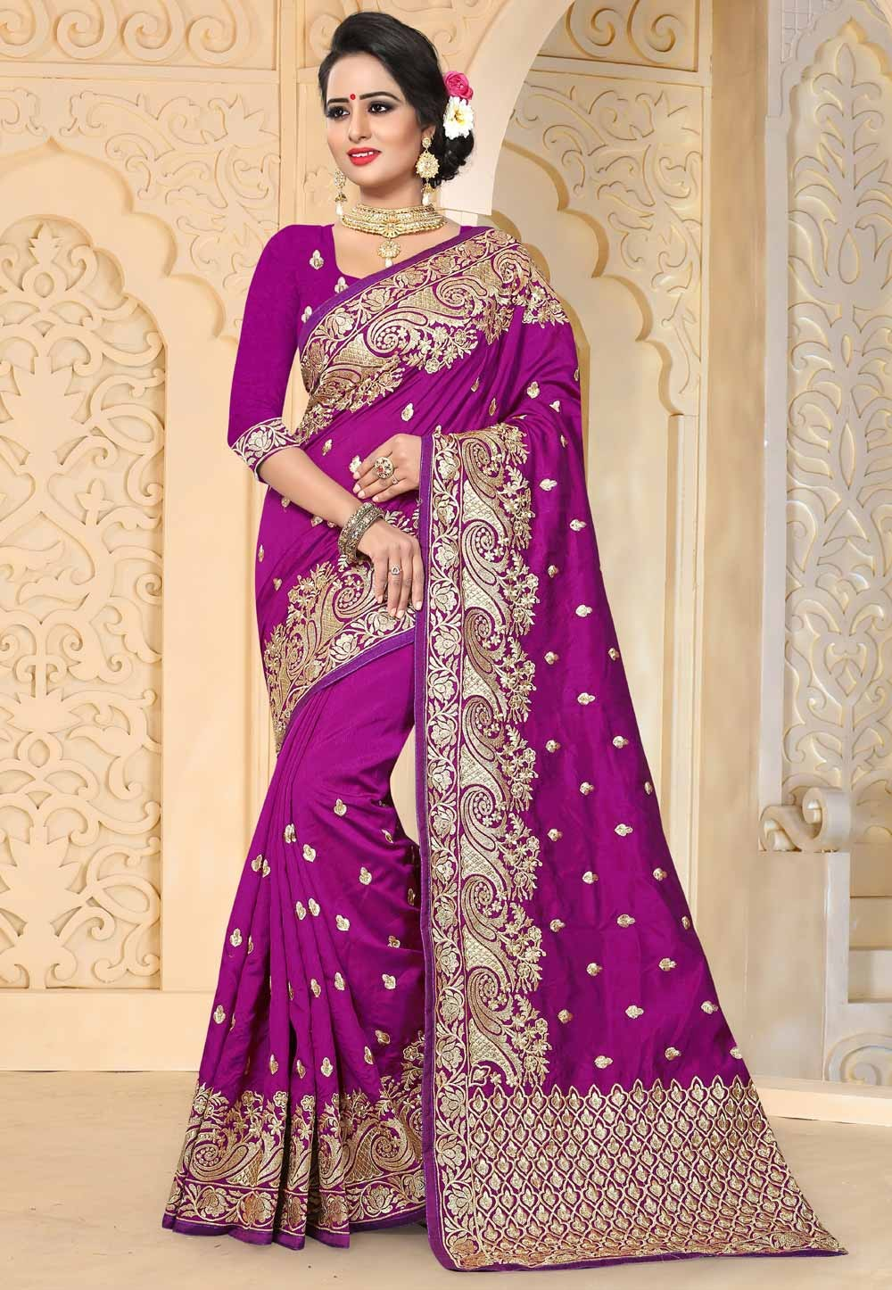 Beautiful Purple Color Art Silk Saree