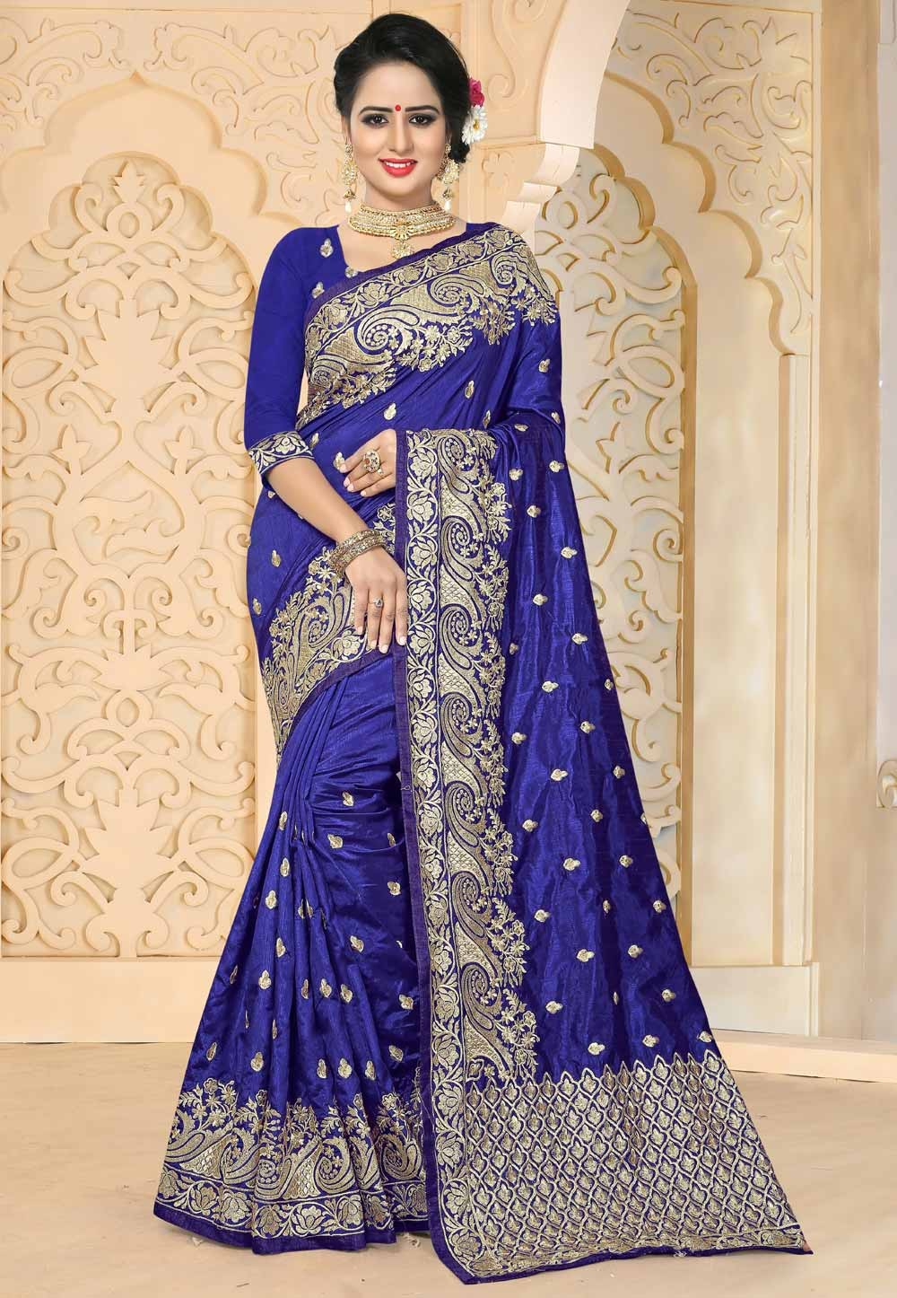 Blue Color & Art Silk Fabric Party Wear Saree