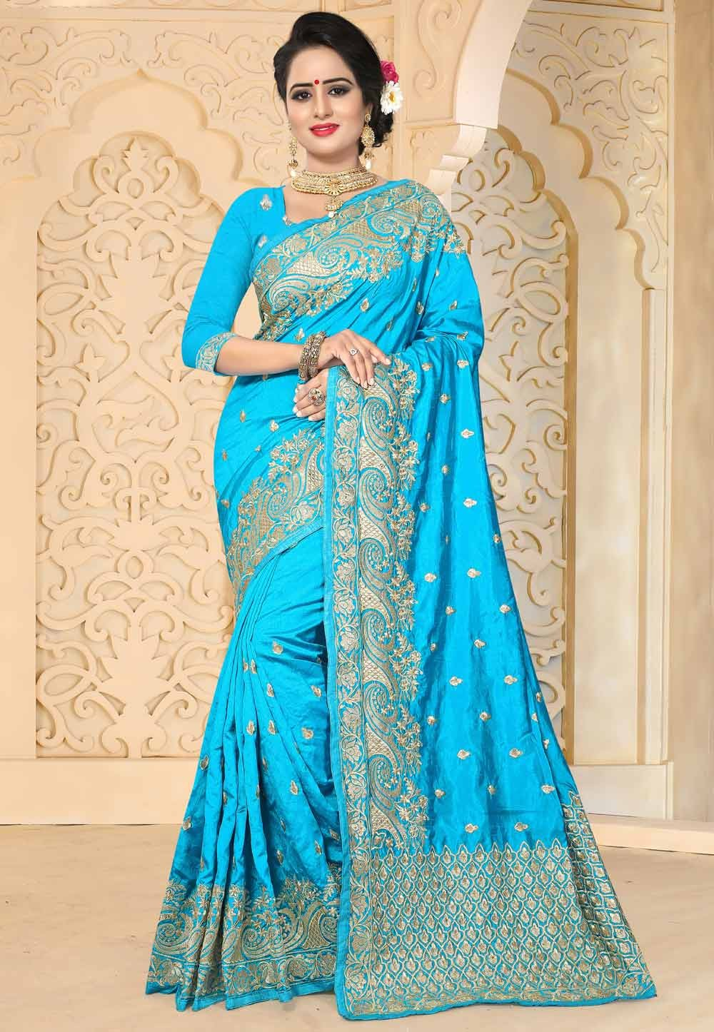 Attractive Turquoise Color Art Silk Saree
