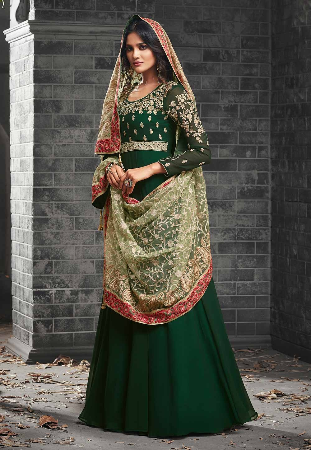 Astounding Green Color Georgette Anarkali Salwar Kameez in Embroidery Work