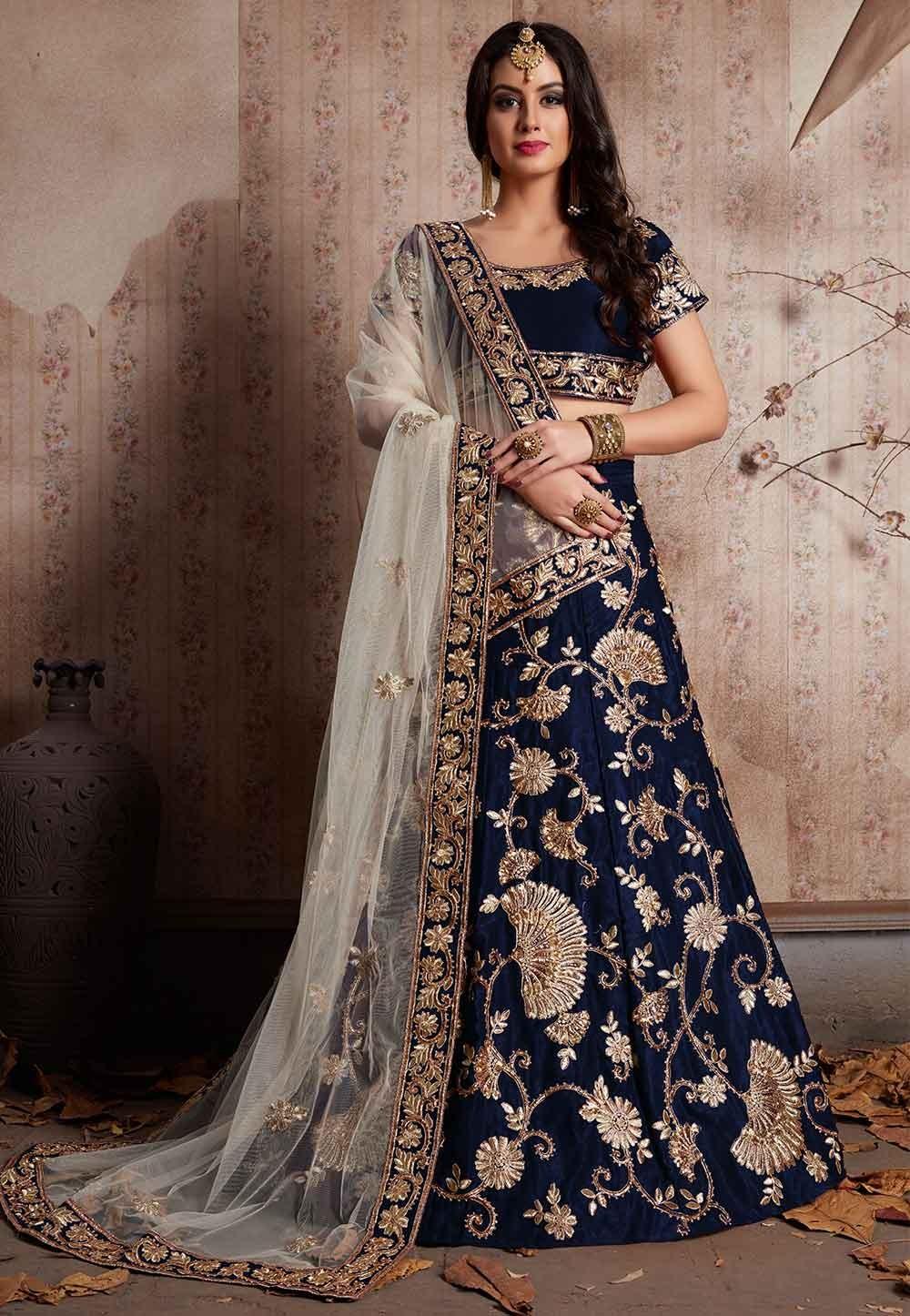Blue Color Designer Bridesmaid lehenga Online