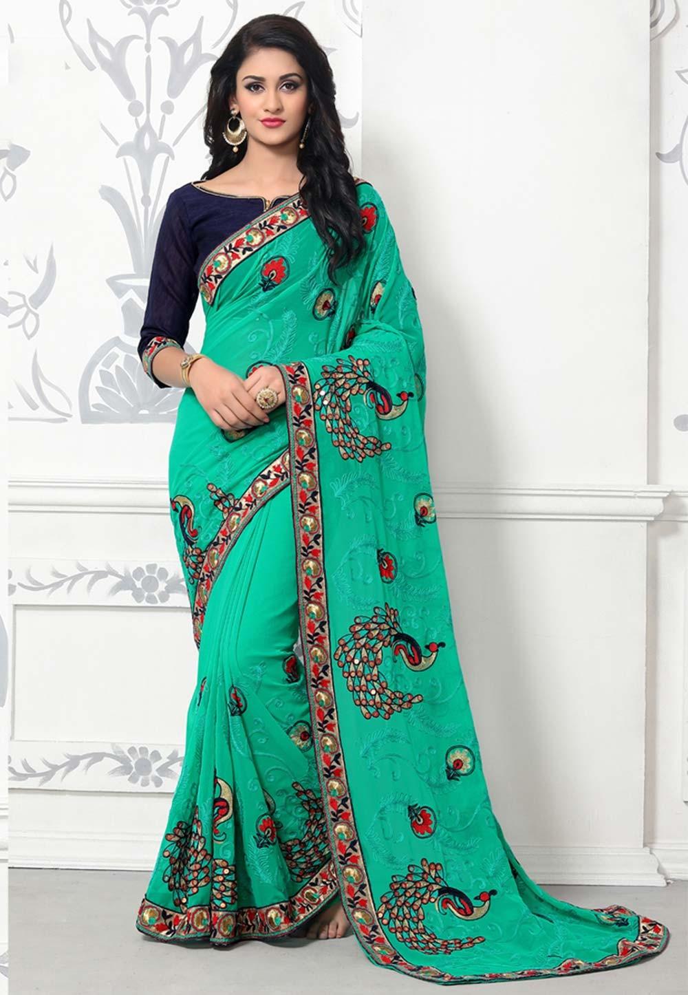 Green Color Party Wear Saree | Buy Designer Sarees