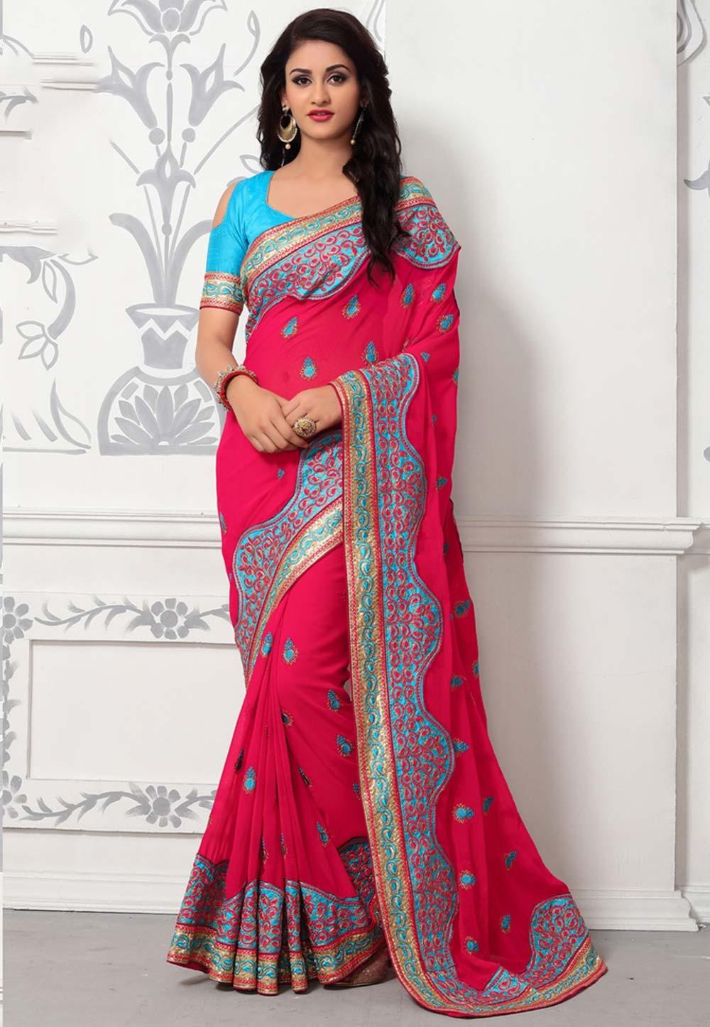 Buy Designer Sarees - Pink Color Embroidered Saree