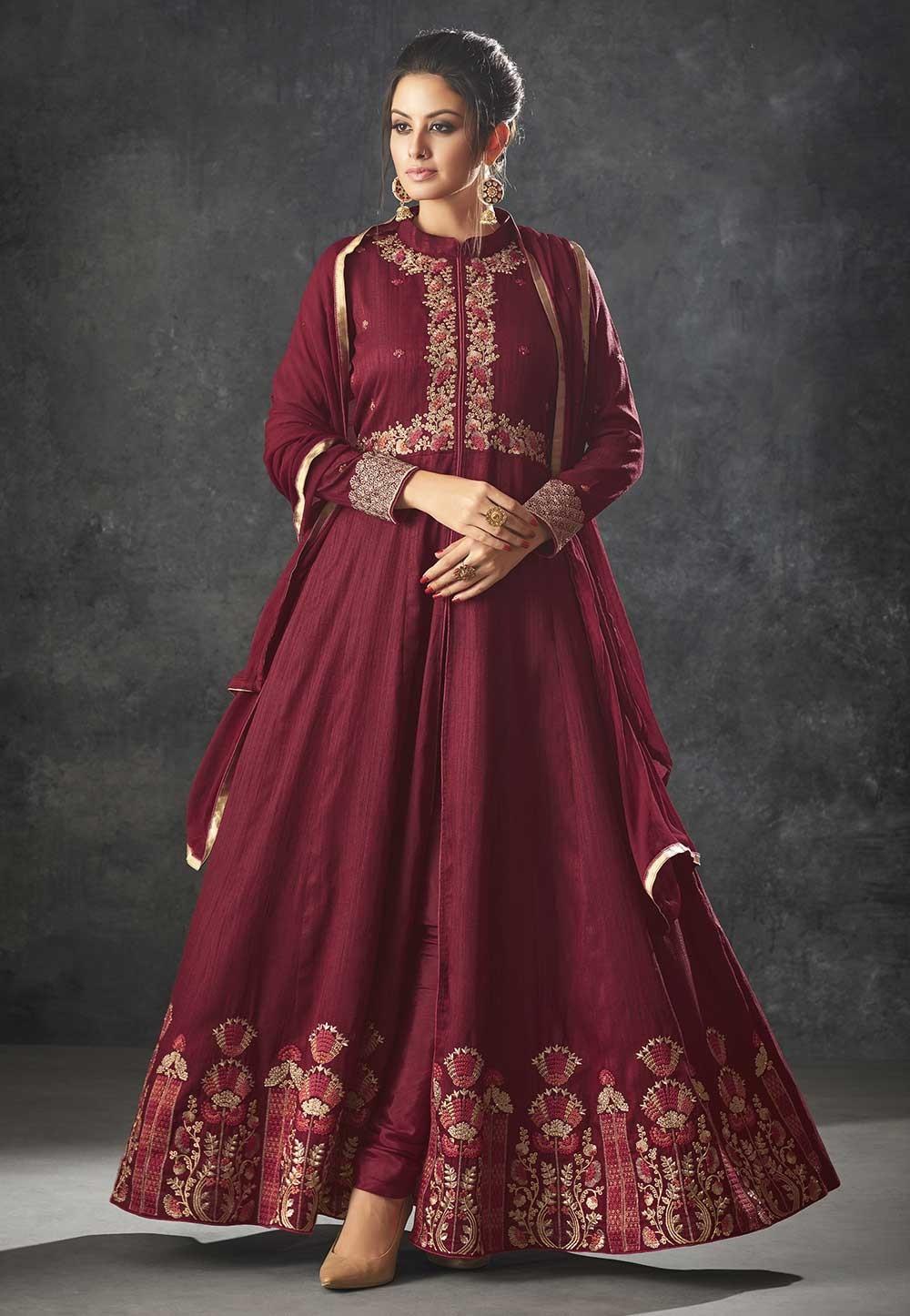 Maroon Color Indian Designer Salwar Suit.