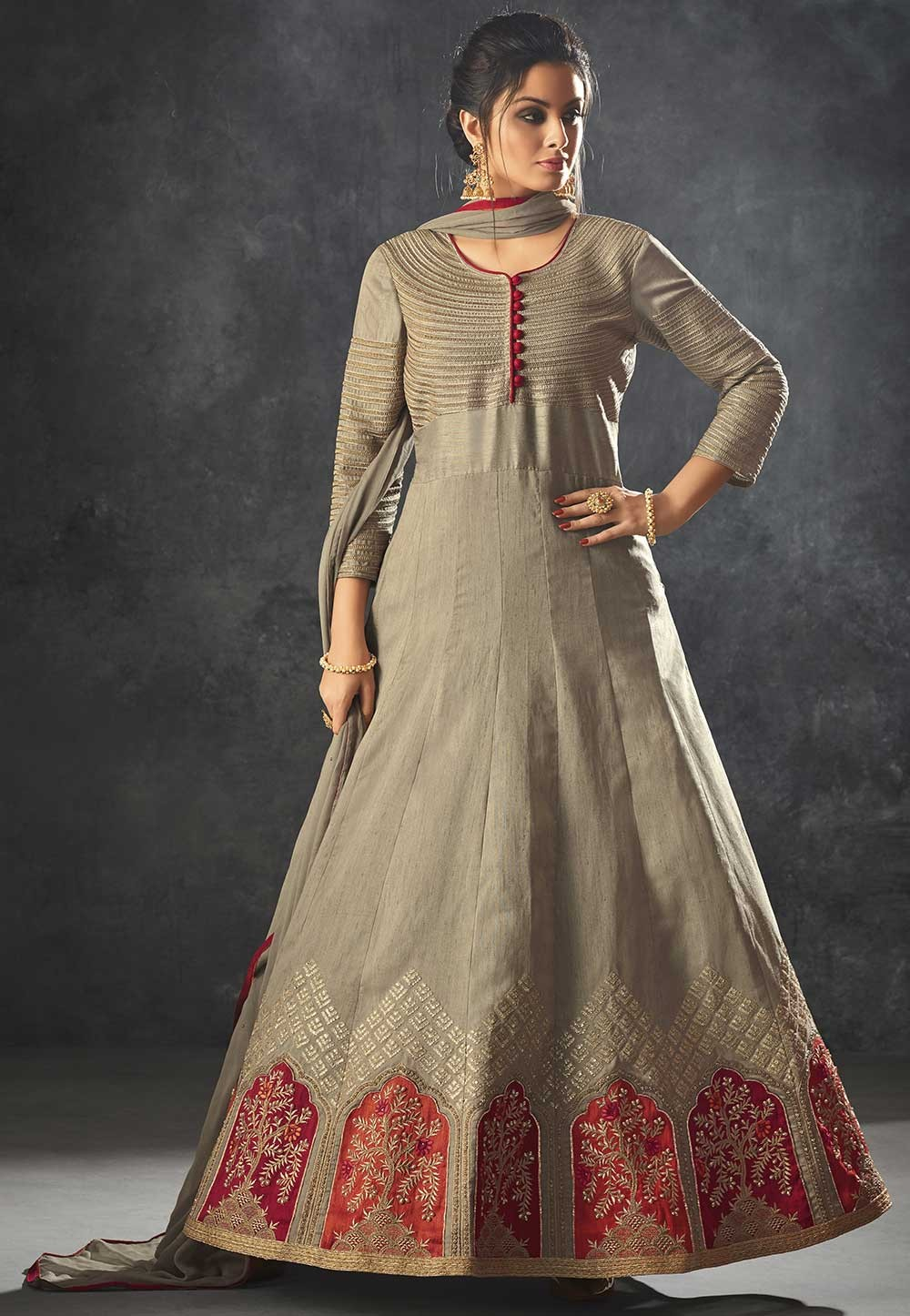 Grey Color Anarkali Salwar Suit.
