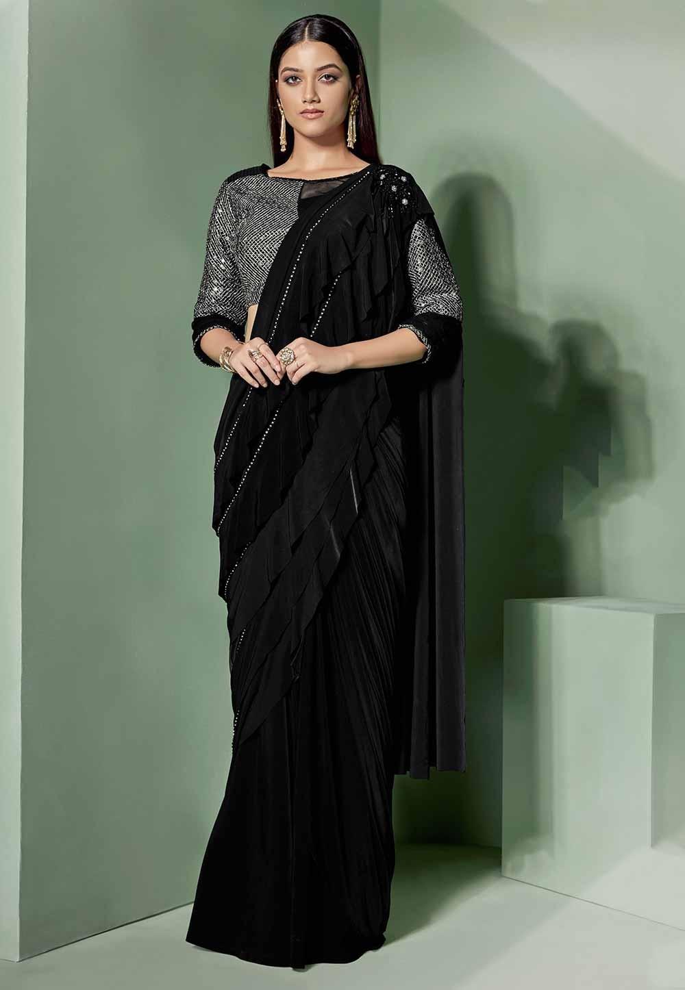 Black Colour Fancy Saree.