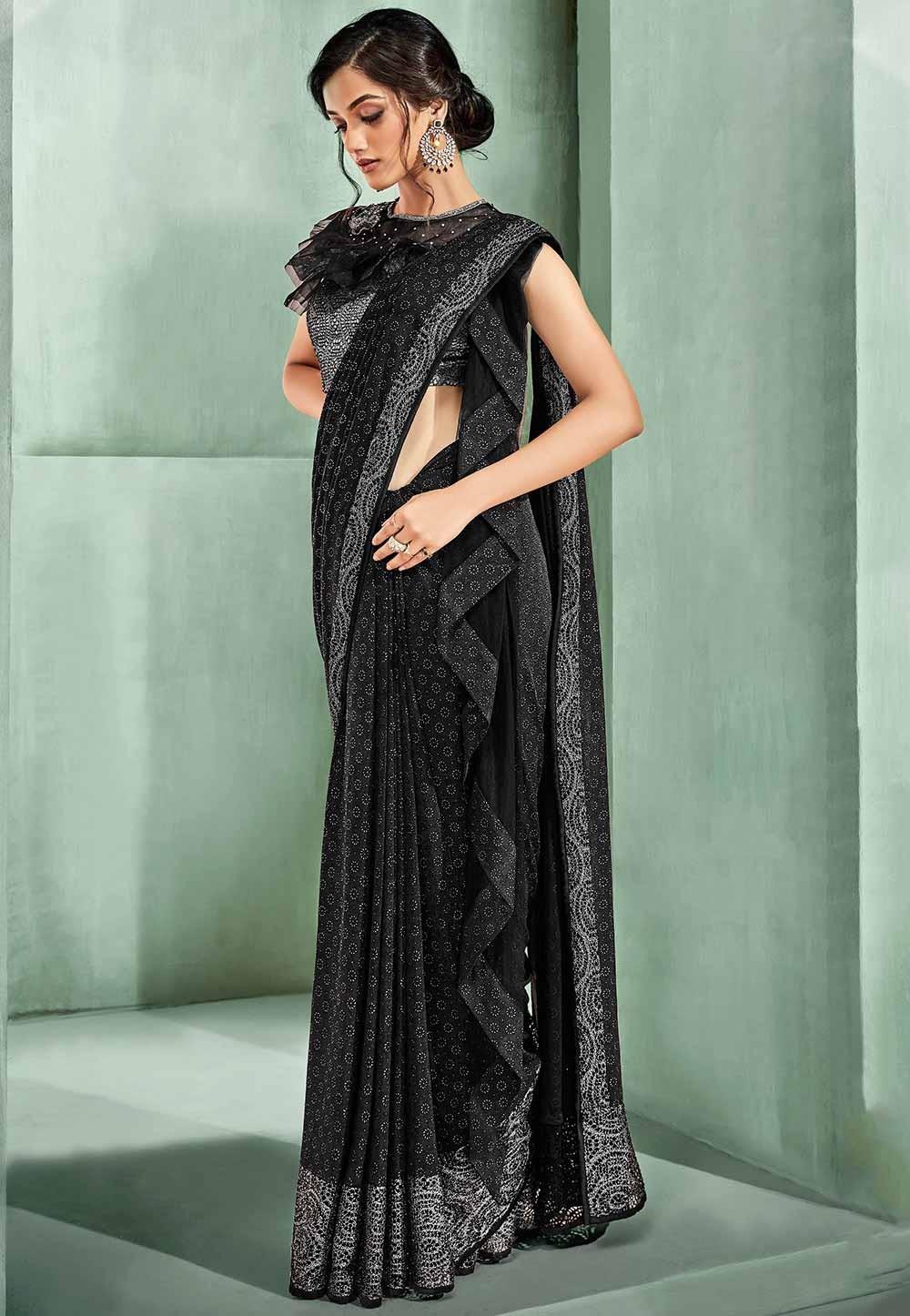 Black Colour Party Wear Sari.