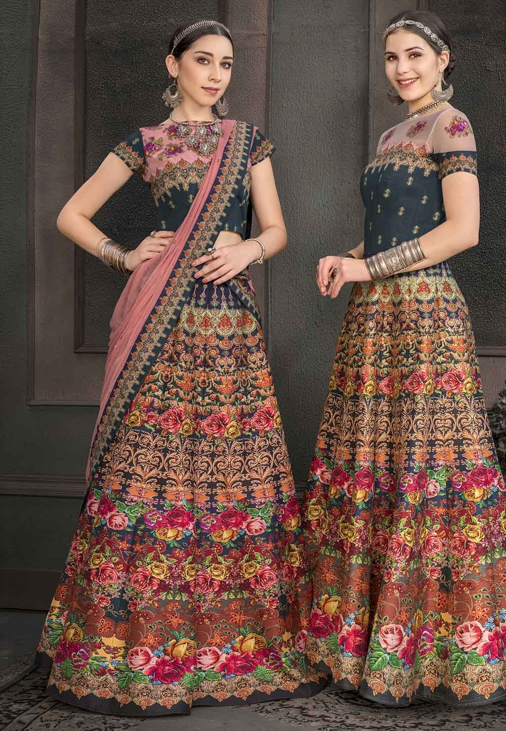 Multi Colour Designer Lehenga Choli.