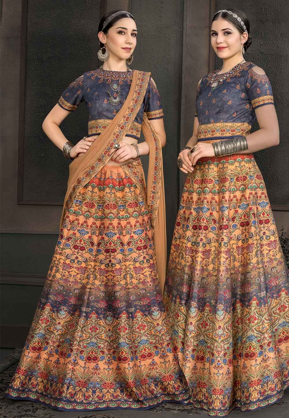 Multi Colour Printed Lehenga.
