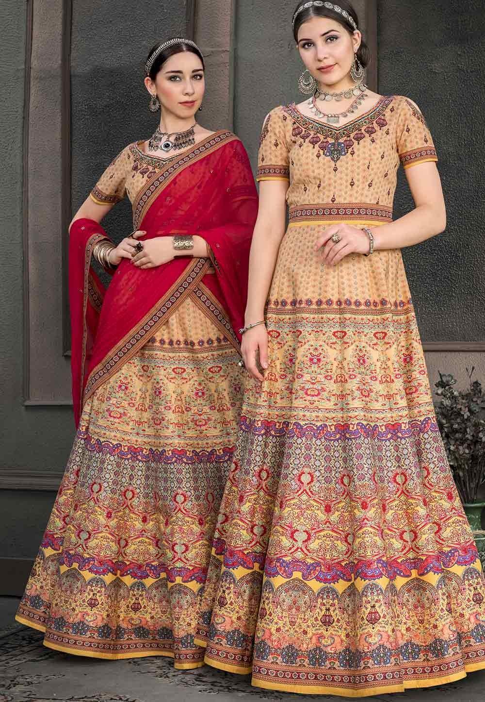 Beige Colour Silk Lehenga Choli.