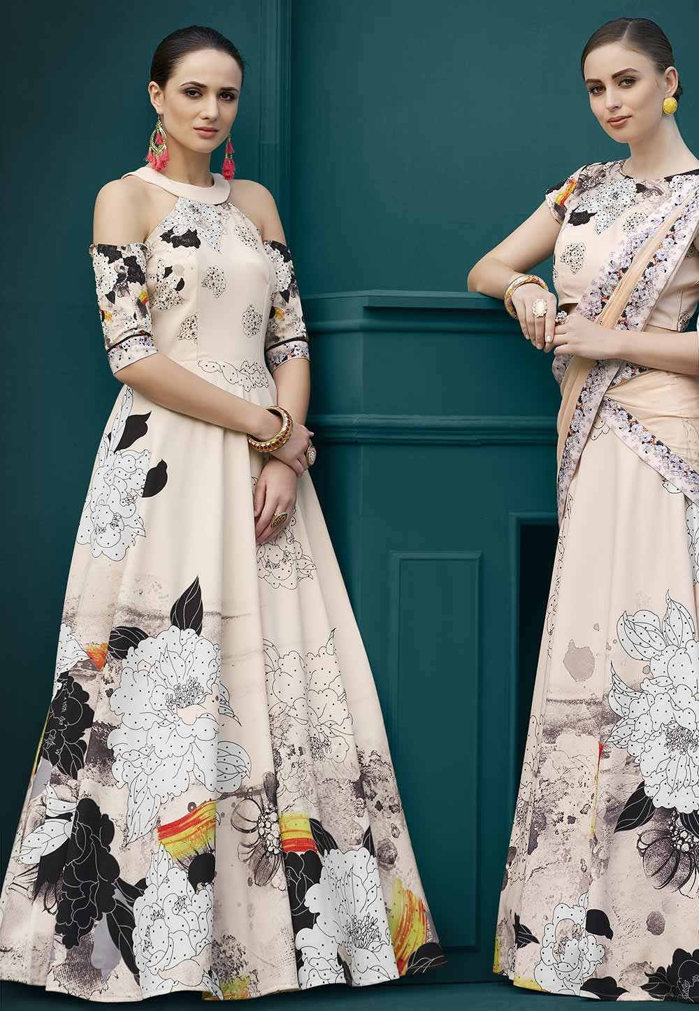 Beige,Multi Colour Indowestern Gown.
