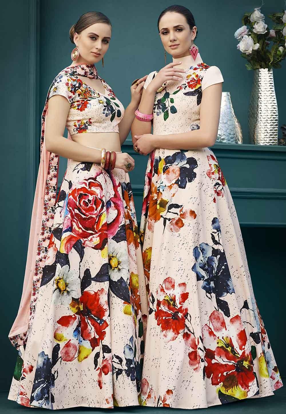 Beautiful Peach,Multi Colour Designer Gown.
