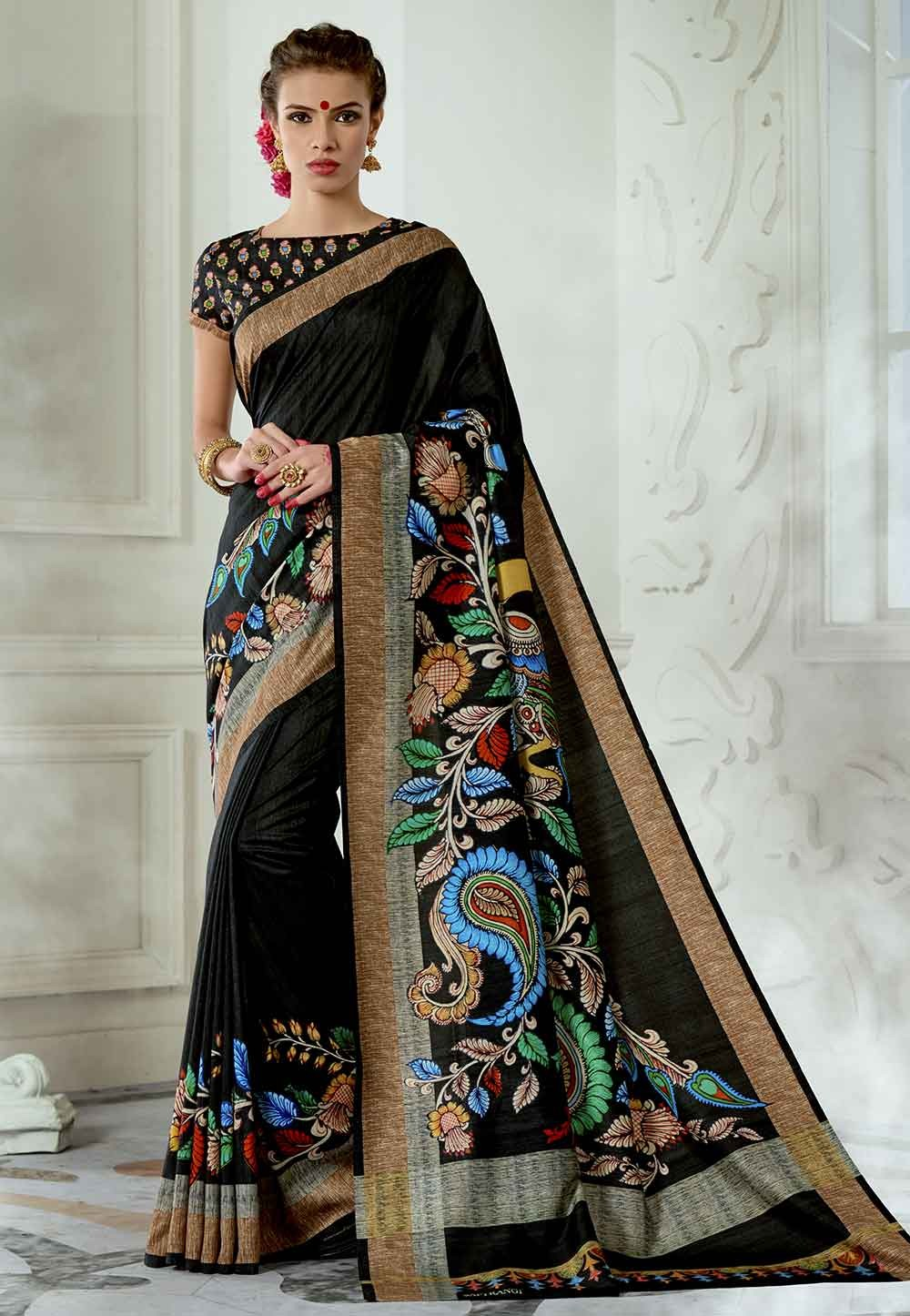 Black Colour Party Wear Saree.