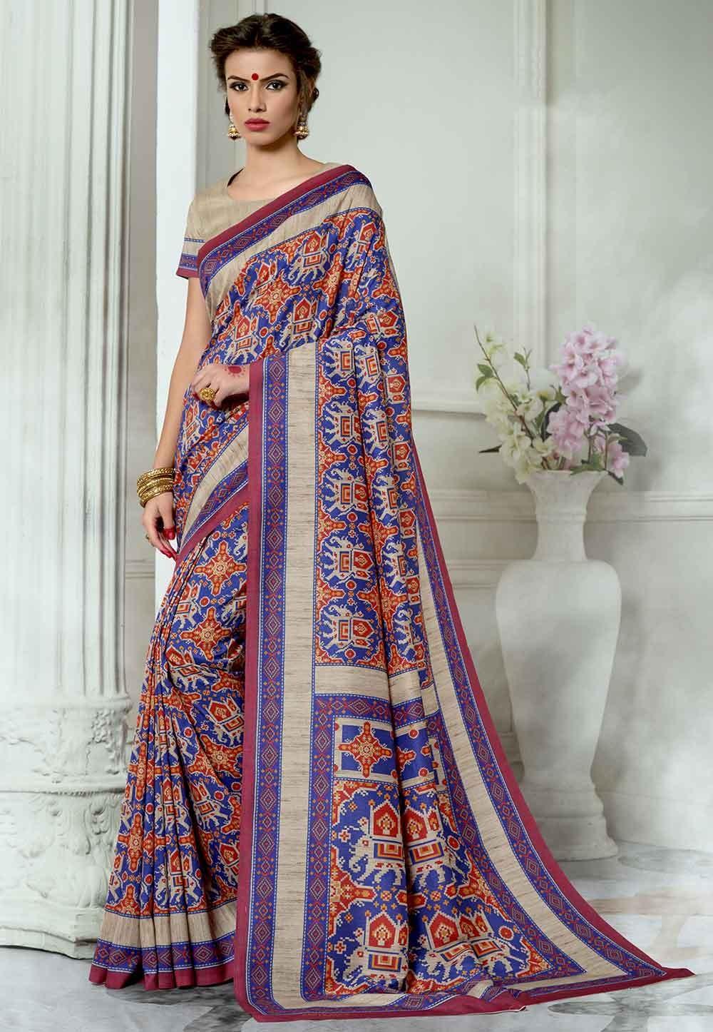 Blue,Red Colour Casual Saree.
