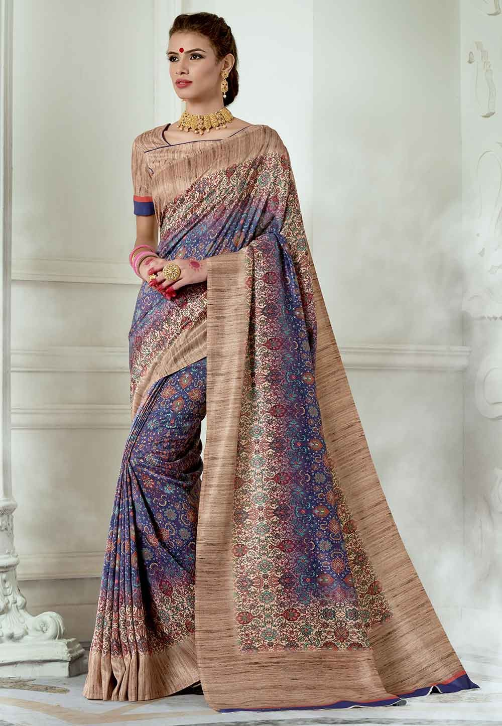 Purple,Beige Colour Printed Sari.