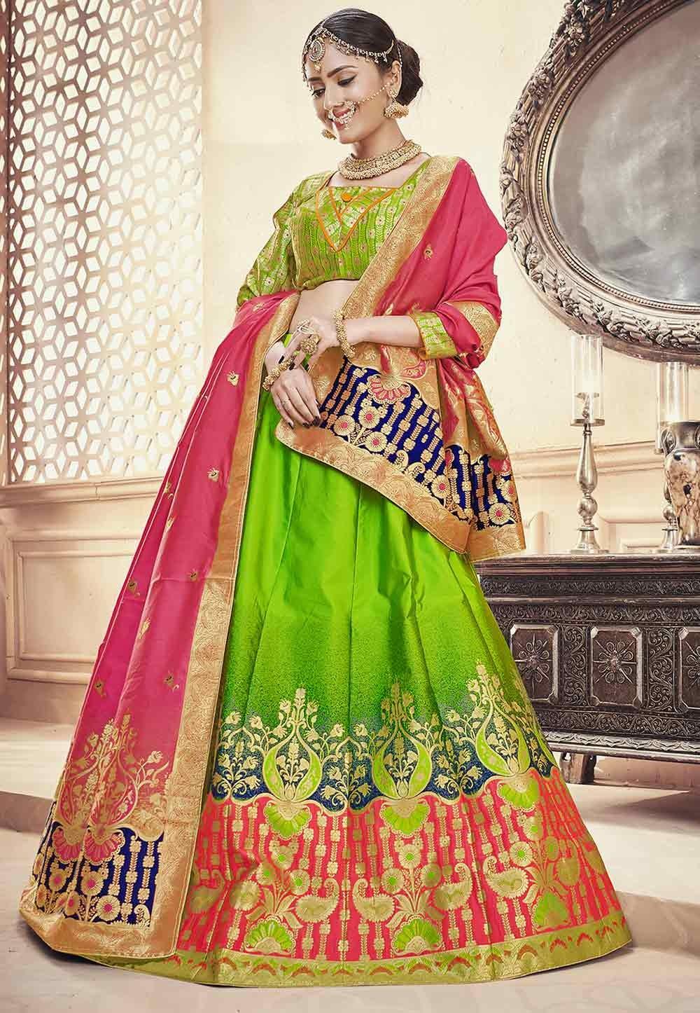 Green Colour Traditional Lehenga.