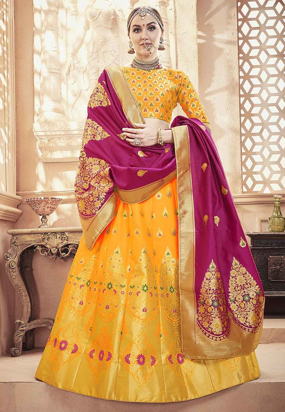 Yellow Colour Lehenga Choli.