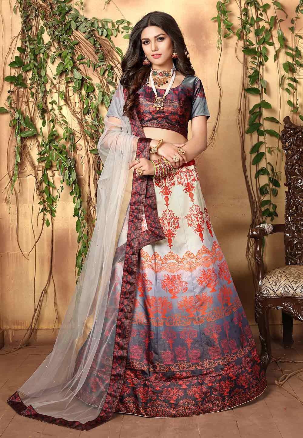 Multi Colour Colourful Lehenga Choli.