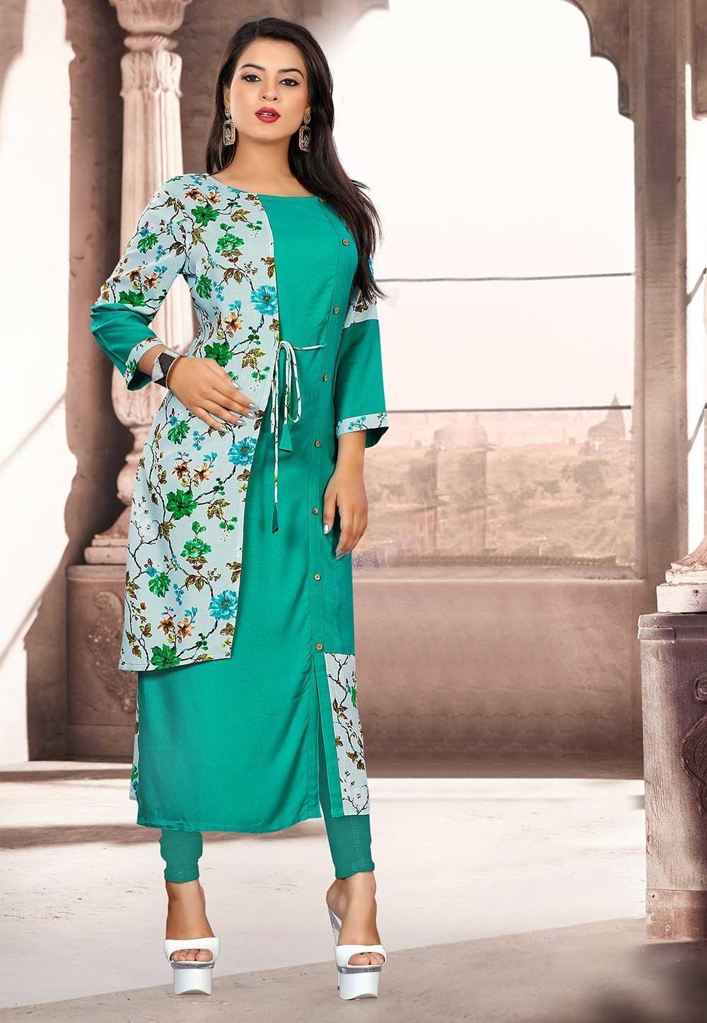 Green Colour Stylish Designer Kurti.