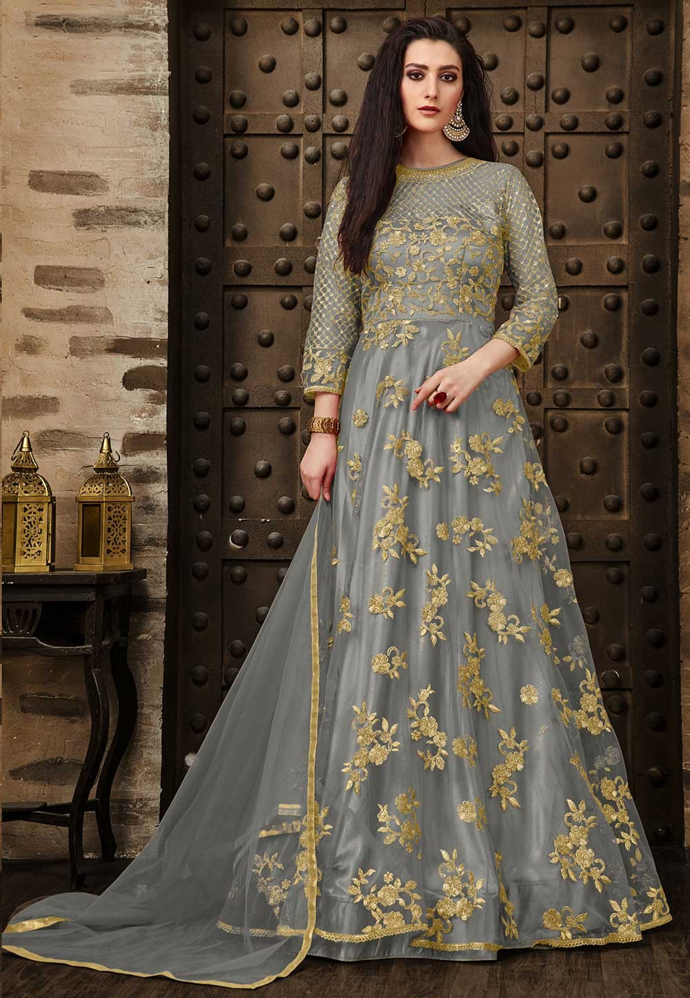Grey Color Embroidery Salwar Suit.