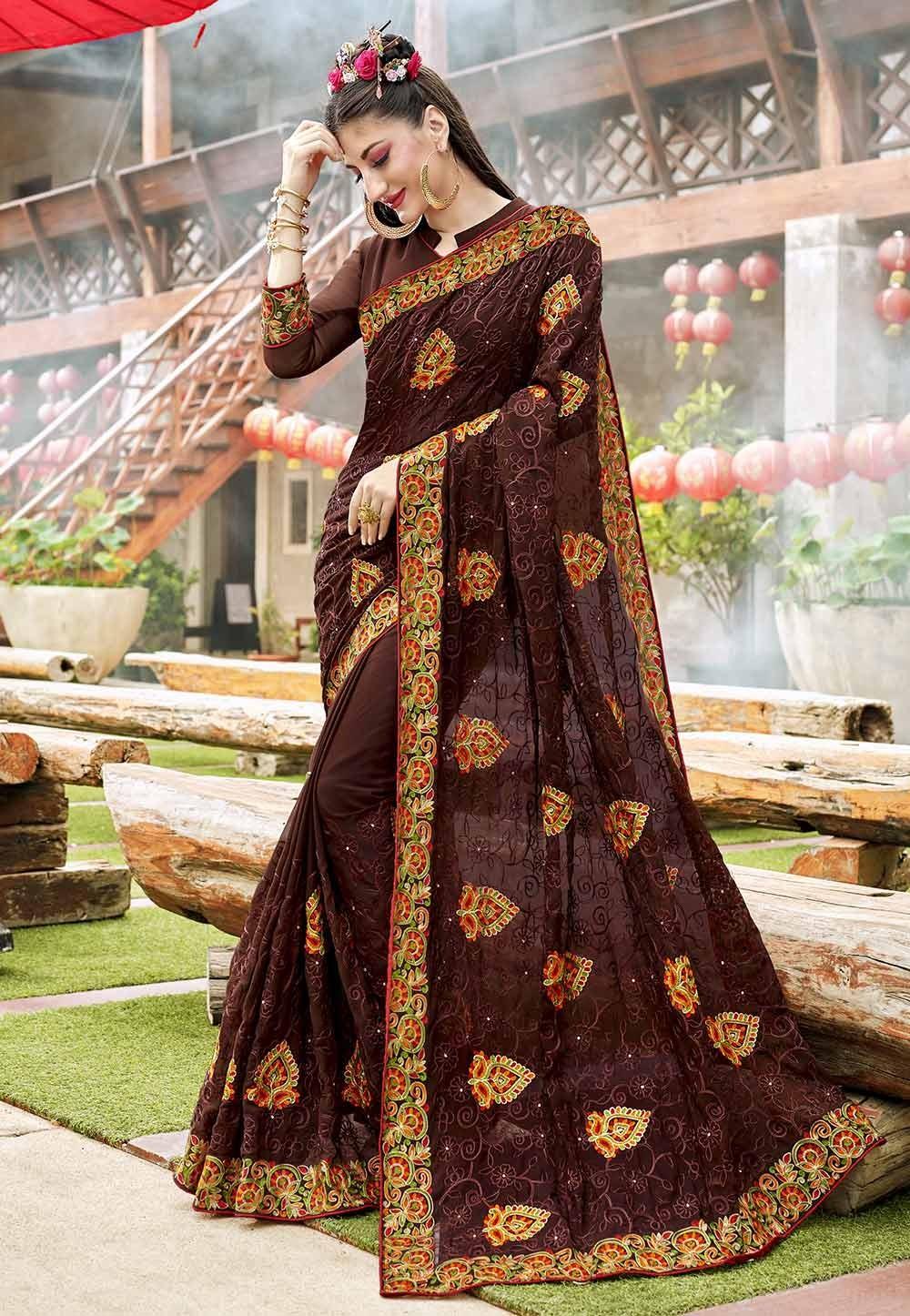 Brown Color Georgette Party Wear Saree.