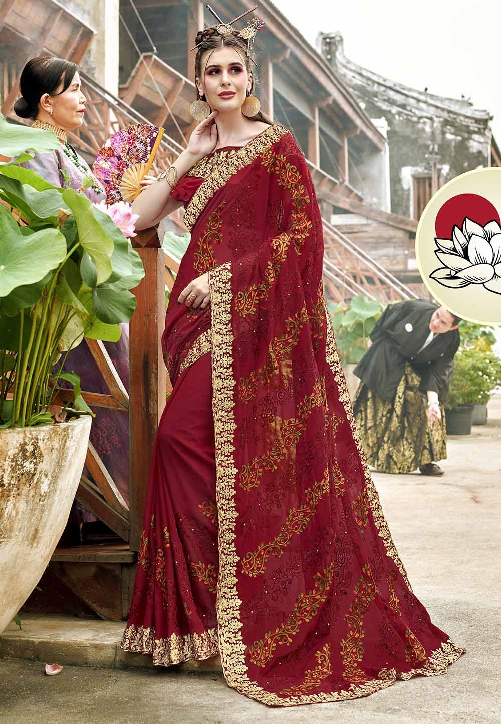 Maroon Color Georgette Wedding Saree.
