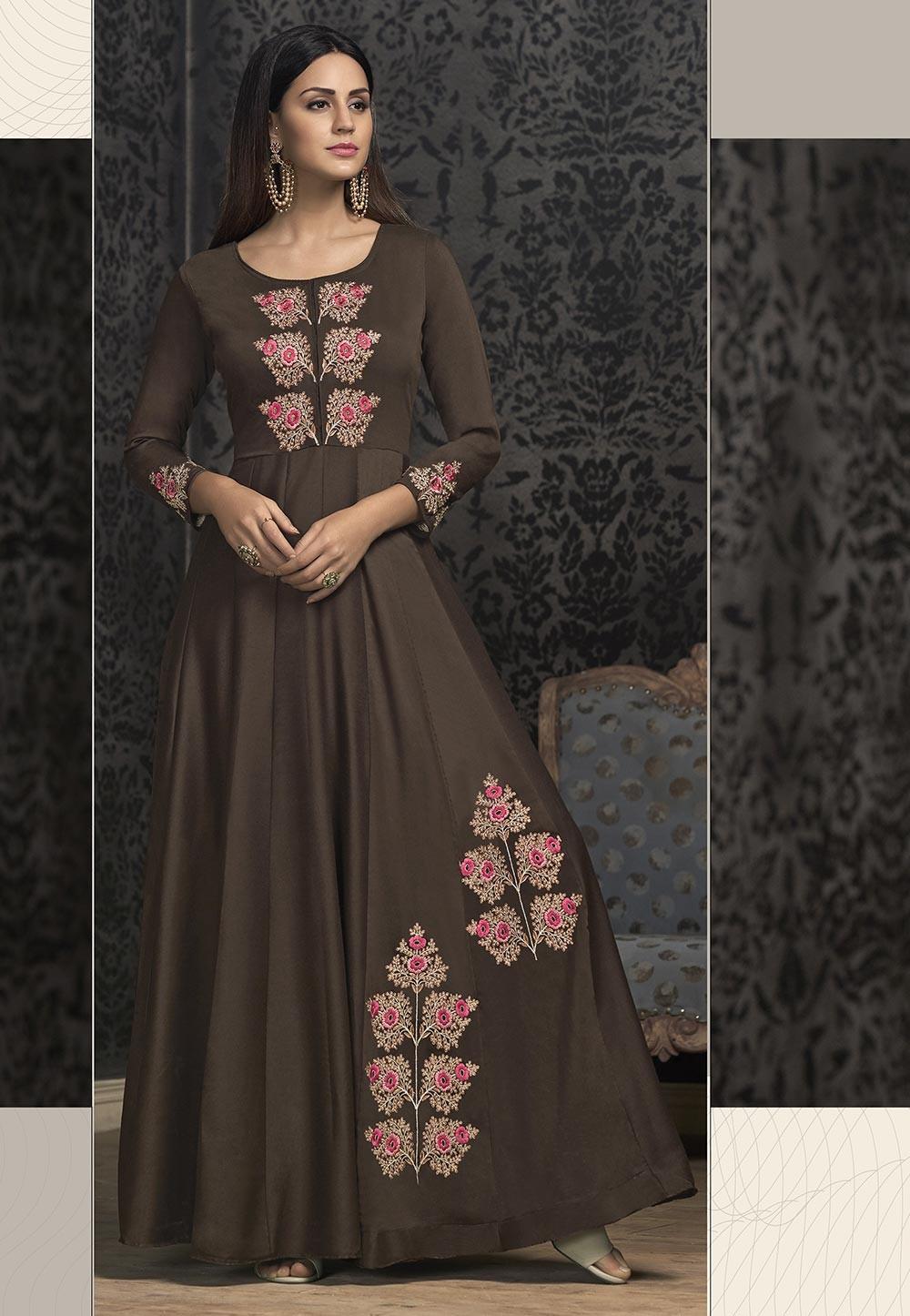 Brown Color Designer Indowestern Gown.