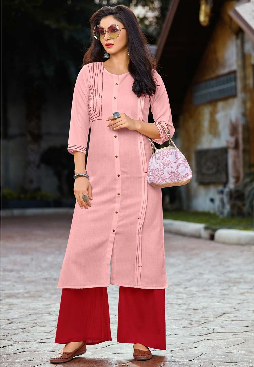 Pink Colour Party Wear Kurti.