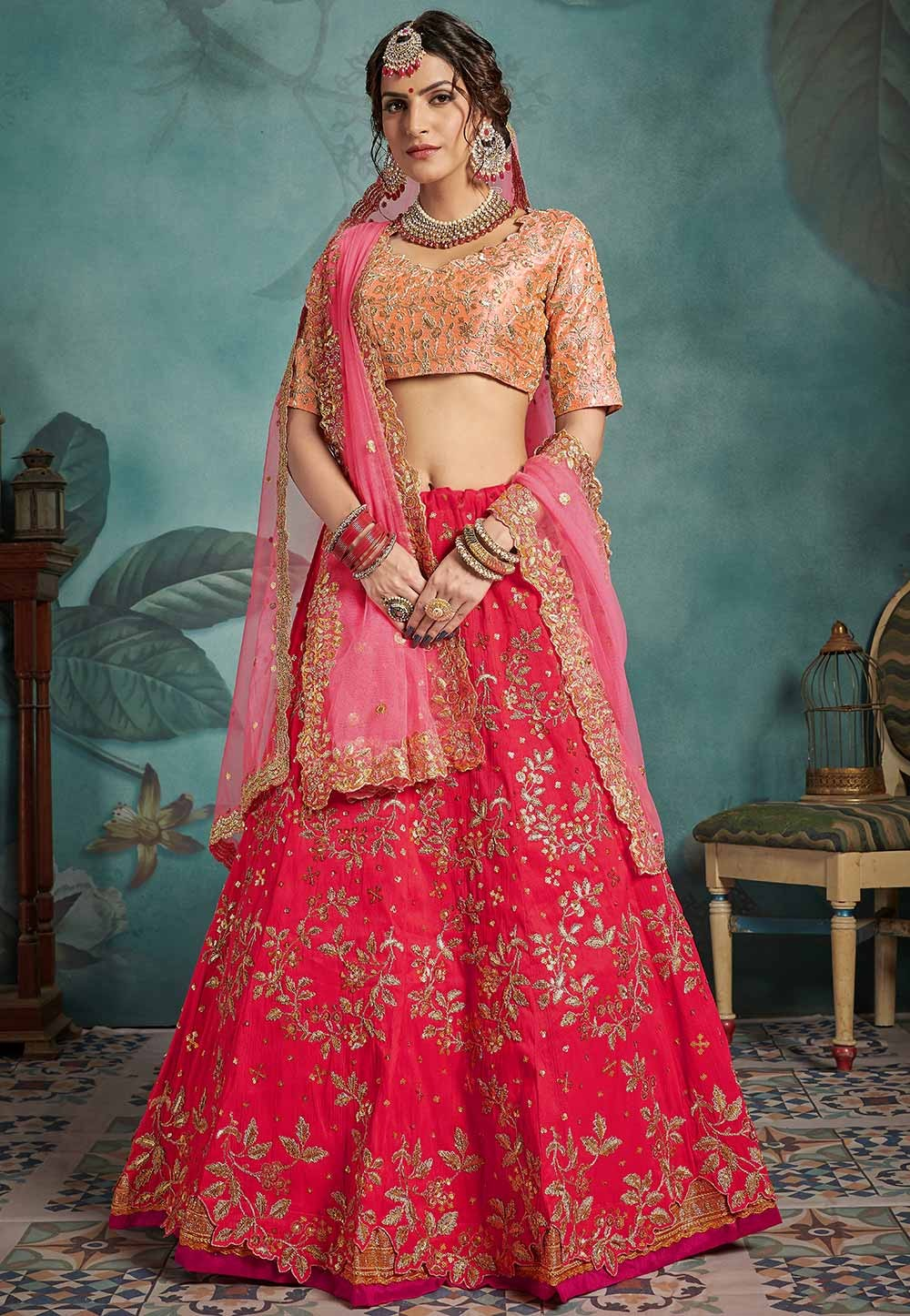 Red Colour Bridal Lehenga Choli.