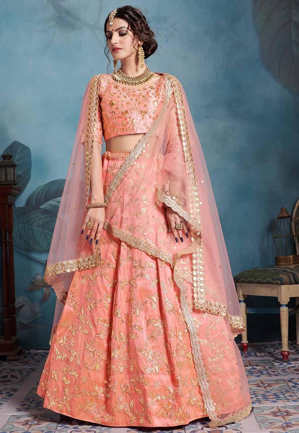 Peach Colour Art Silk Lehenga Choli.